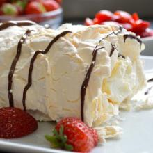 Meringue: Meringue Roulade with Elderflower Infused Strawberries
