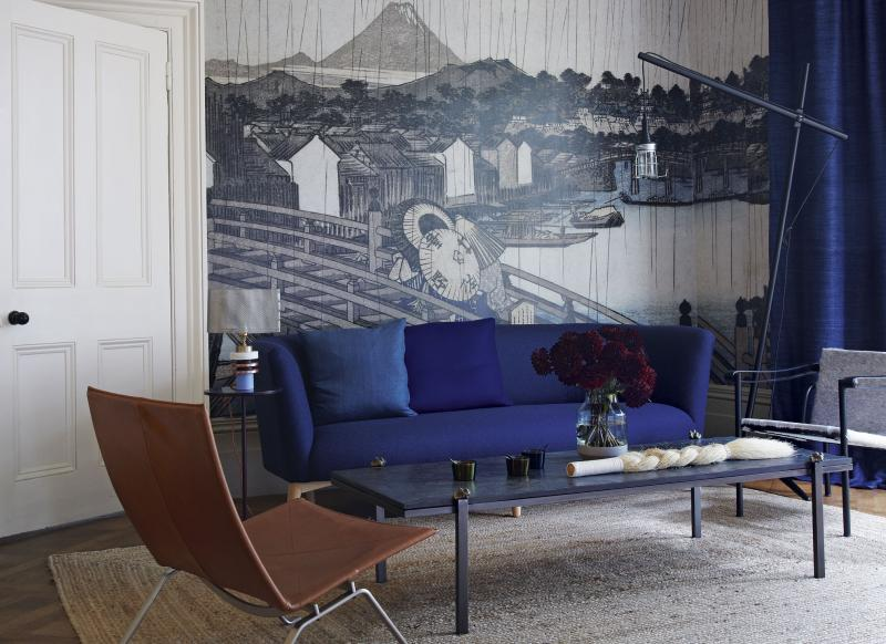 Modern Blue Living Room with Japanese Mural