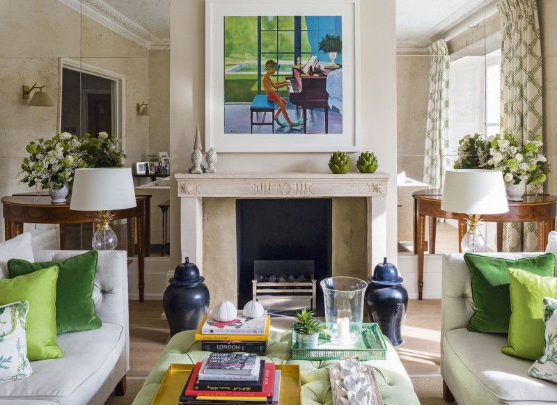 Give a living room character with clever colour ideas for Neutral green living room