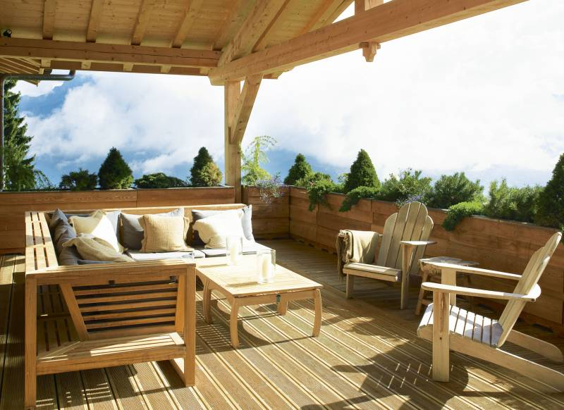 Chalet Balcony with Wood Decking and Seating