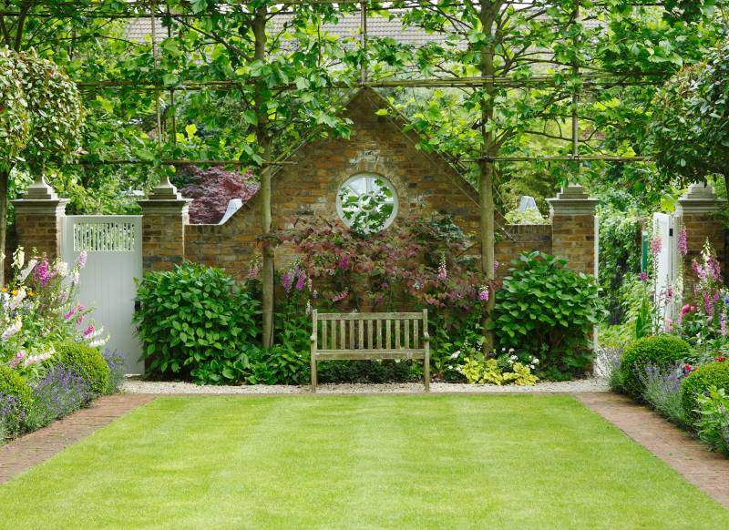 Formal Garden with Classic English Lawn