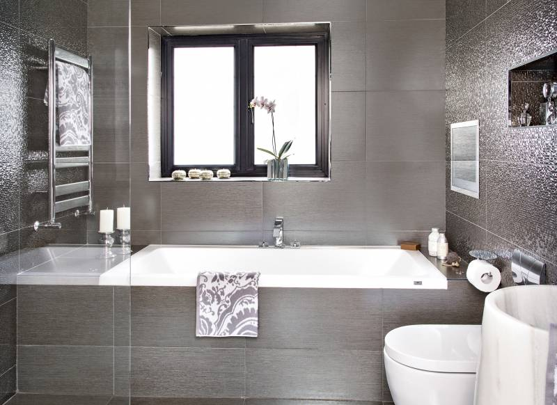bathroom grey tiles  poxtel, Home decor