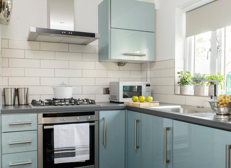 Modern kitchen with blue gloss cabinetry