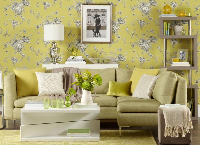 Good Chartreuse Living Room With Floral Wallpaper