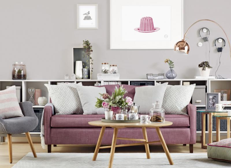 Delightful Modern Grey Living Room With Dusky Pink Sofa Part 32