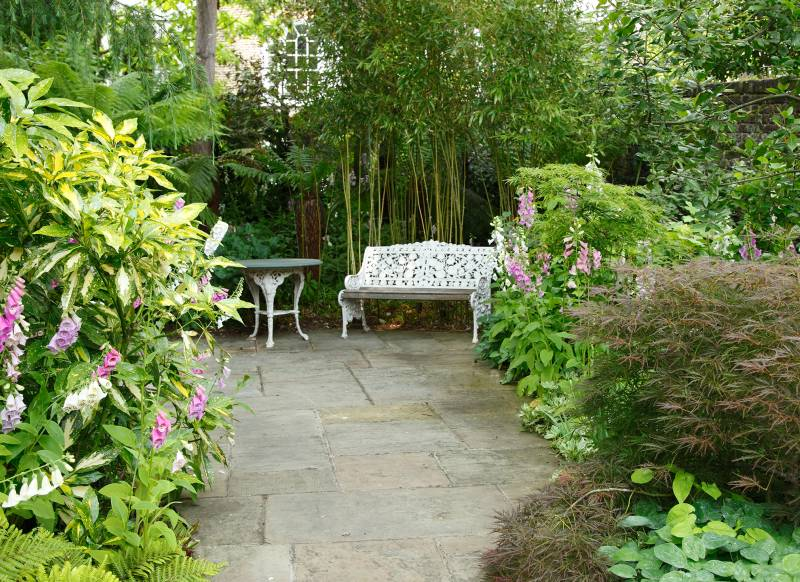 Japanese-style Patio Garden with Bench