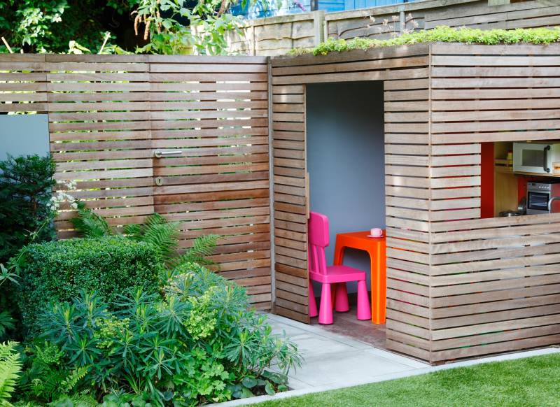 Modern Architectural Garden with Built-in Play House