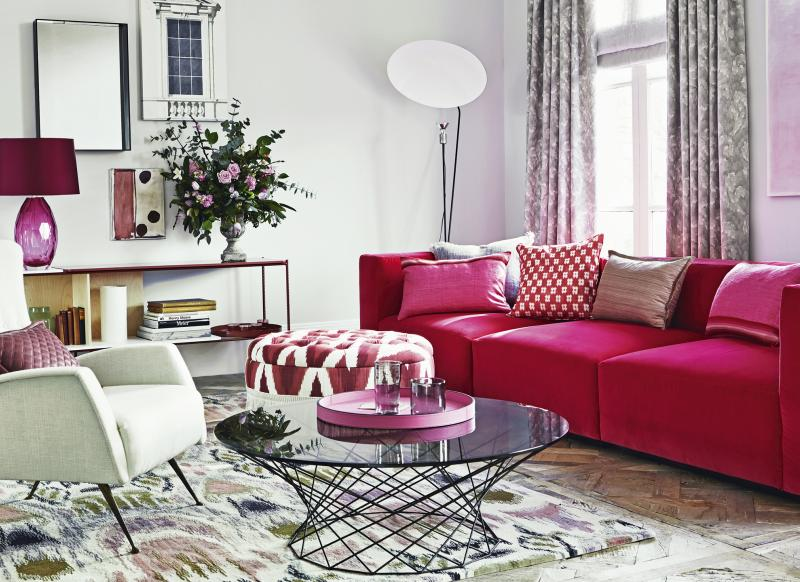 Modern Grey Living Room With Pink Furniture Part 38