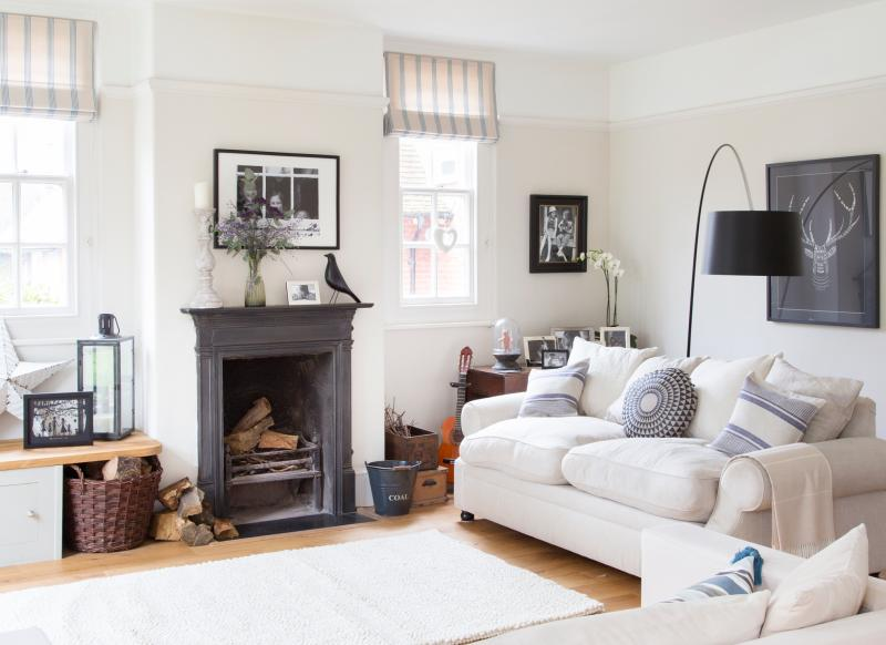 Monochrome living room with country accessories. Look Around this Elegant Edwardian House in East Sussex   The Room