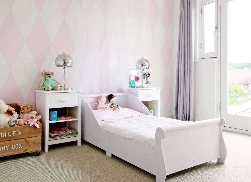 Child s pink and white bedroom with harlequin pattern. Make Your Child s Room Awesome on the Smallest of Budgets   The