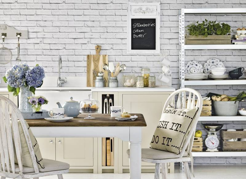 Wonderful White Kitchen Exposed Brick This Pin And More On Cocinas