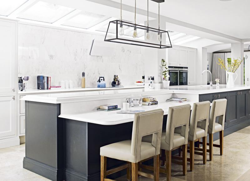Find the ideal worktop for your hard working kitchen the for White kitchen gray island