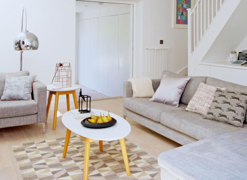 White modern living room with Scandi accents