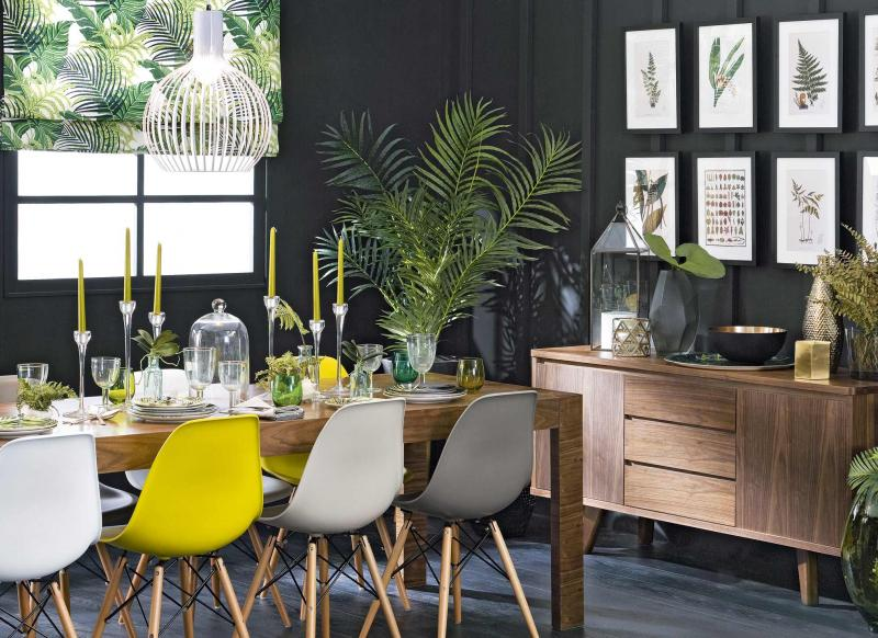 Slate Grey Dining Room with Leafy Tropical Decor