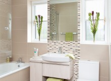 Traditional Taupe Bathroom with Mosaic Tiles