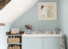 Country Blue Bathroom with Bespoke Vanity Unit