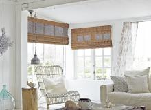 Neutral Coastal Living Room with Bamboo Blinds and Natural Touches