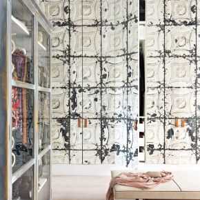 Contemporary Dressing Room with Wallpapered Wardrobes and Bench