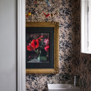 Pink Floral Cloakroom with Bird Pendant Light