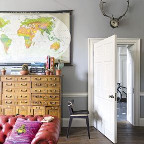 Modern Grey Living Room with Vintage World Map