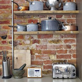 Modern Rustic Kitchen with Exposed Brick Wall and Shelving