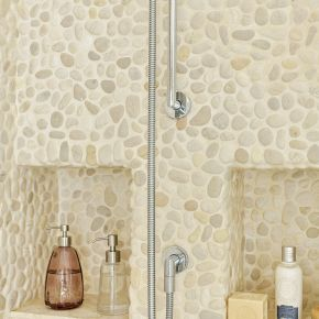Pebble-tiled Shower with Recessed Shelving
