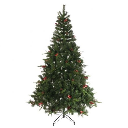 Festive Green 6ft Red Berries and Pine Cone Artificial Tree