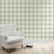 Balmoral Check Duck-egg Wallpaper