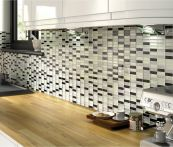 Glitter Black and Silver Gloss Glass Mosaic Tile Sheet