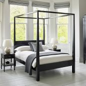 Canton Black Four-poster Wooden Bed