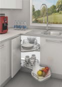 Hafele Kidney-Shaped Pull-Out Kitchen Storage Unit Shelving RH Silver Eff.
