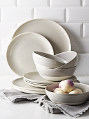 Dip Glaze Dinner Plates in Grey, Set of 4