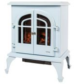 Warmlite Log-effect 'Stove' Electric Fire in Baby Blue