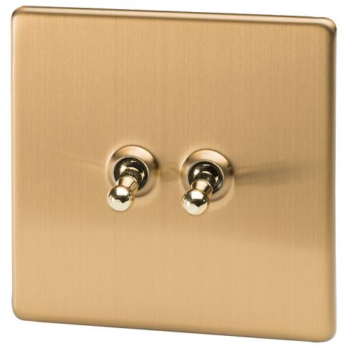 Varilight 2 Gang 2-way Toggle Switch in Brushed Brass