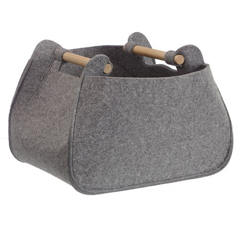 Grey Felt Storage Basket with Ash Handles