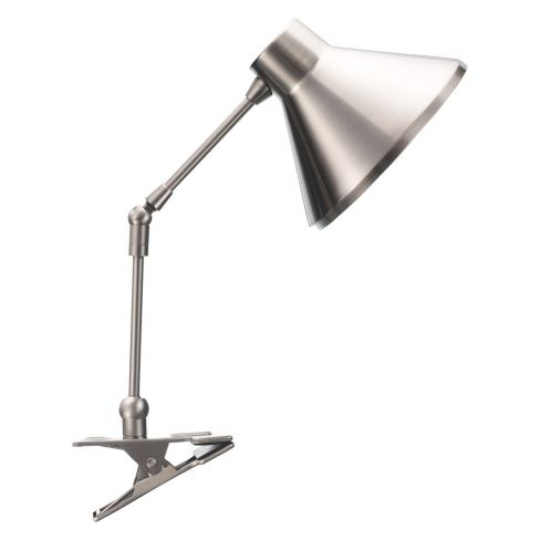Bobby Silver Brushed Metal Clamp Desk Lamp
