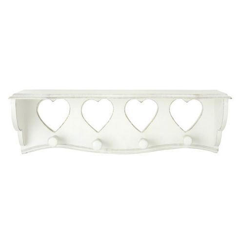 Cream Wooden Heart Shelf