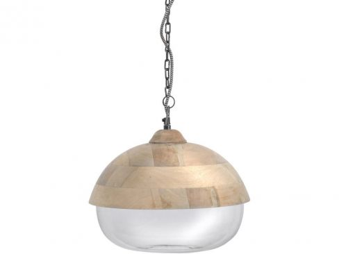 Larssen Natural Wood and Glass Pod Pendant Light