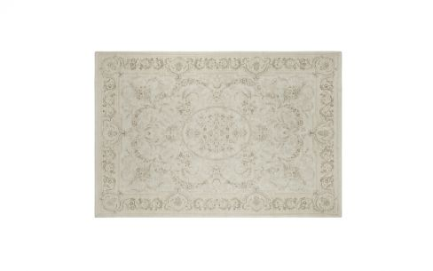 Victoriana Dove Grey Traditional Cotton and Wool Rug