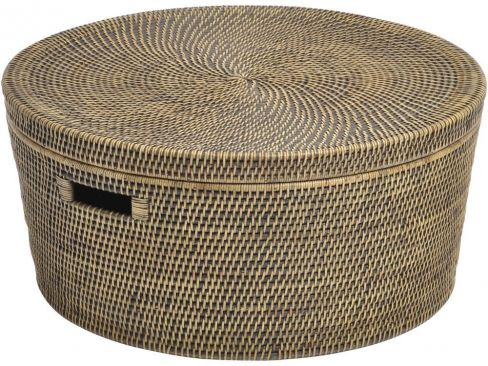 Mala Rattan Low Round Storage Basket with Lid