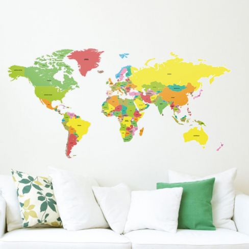 Labelled World Map Wall Stickers