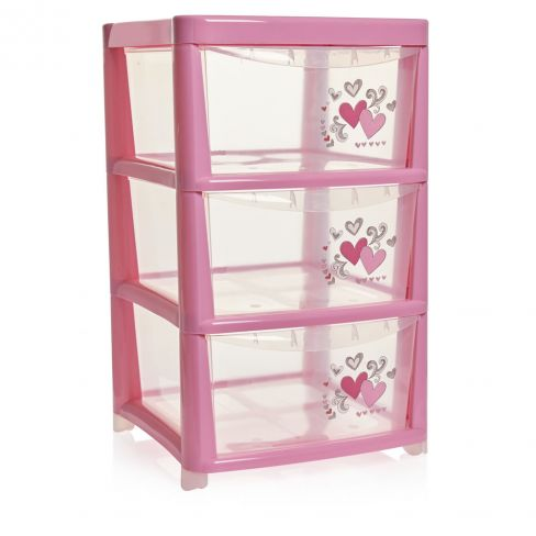 3 Drawer Pink Storage Tower