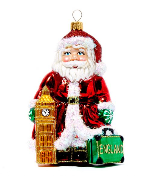 Multicolour Big Ben and Santa Glass Decoration