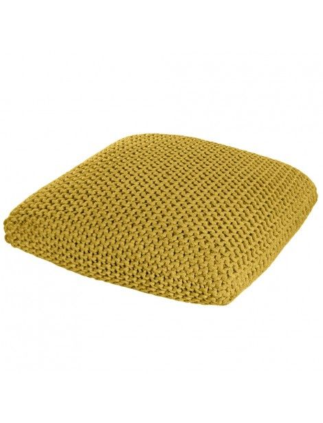 Yellow Knitted Pouffe Floor Cushion