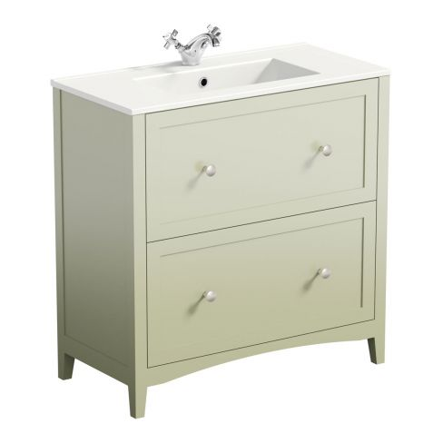 Camberley Sage Floor Drawer Unit and Basin