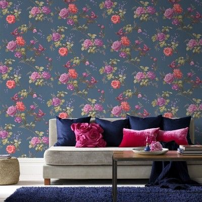 Graham and Brown Fresco Oriental Blue Wallpaper