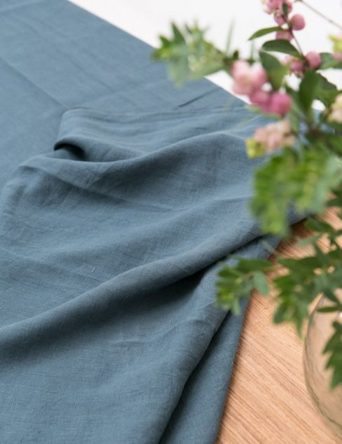 Eco Linen Table Cloth in Petrol Blue