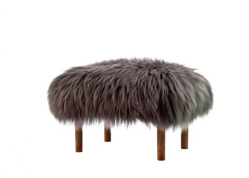 Bronwen Slate Grey Sheepskin Footstool by Baa Stool