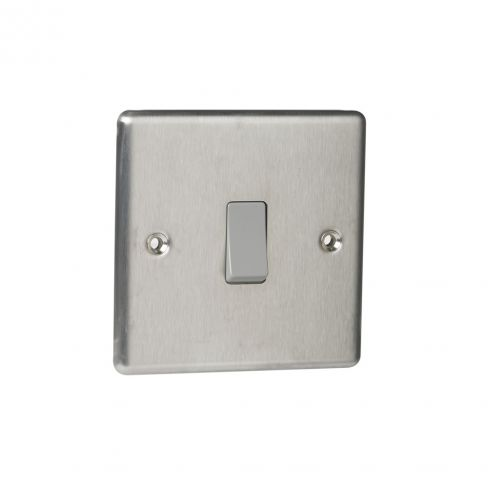 Single 2-way Switch in Brushed Stainless Steel