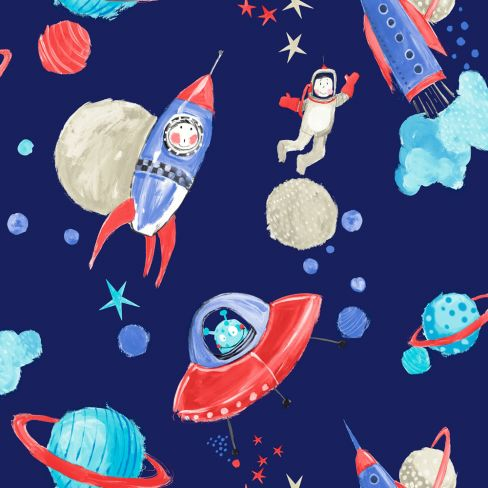 Starship Blue Children's Wallpaper